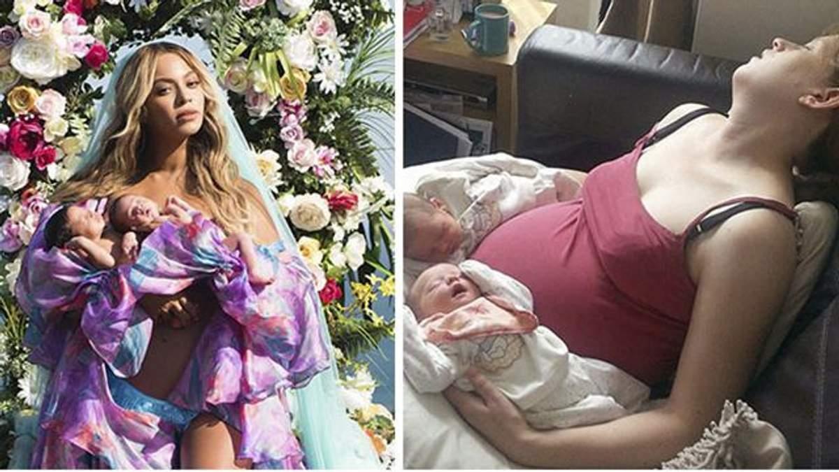 Как это выглядит на самом деле: родители воспроизводят фотографию Бейонсе с близнецами