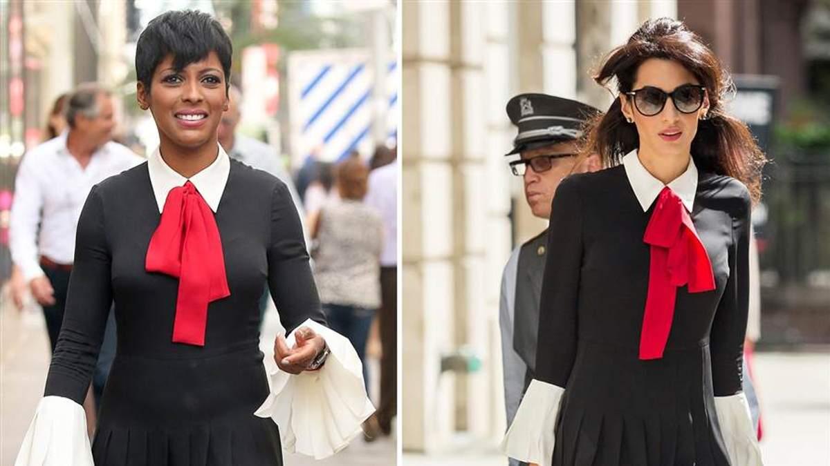 """Журналистка Темрон Холл и юрист Амаль Клуни в платье от Gucci """"Pussi bow silk"""""""