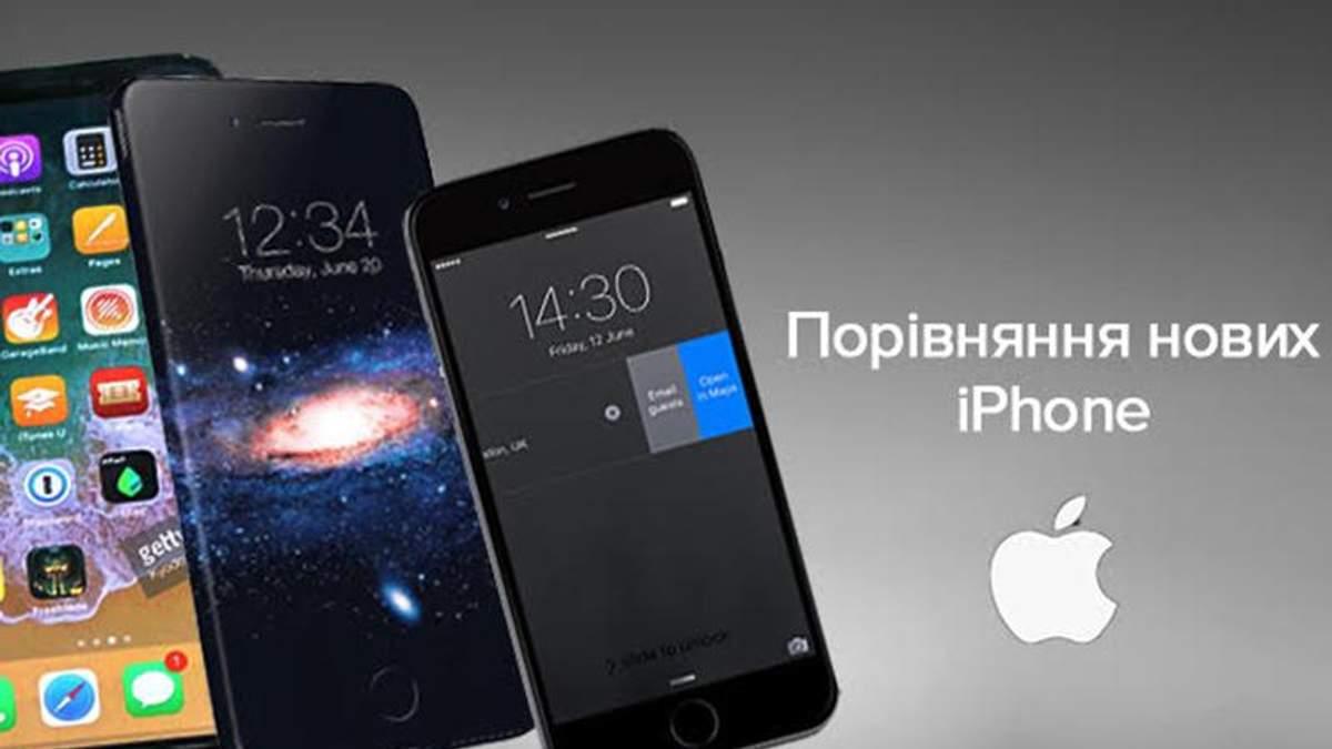 Характеристики iPhone 8, iPhone 8 Plus, iPhone X: порівняння