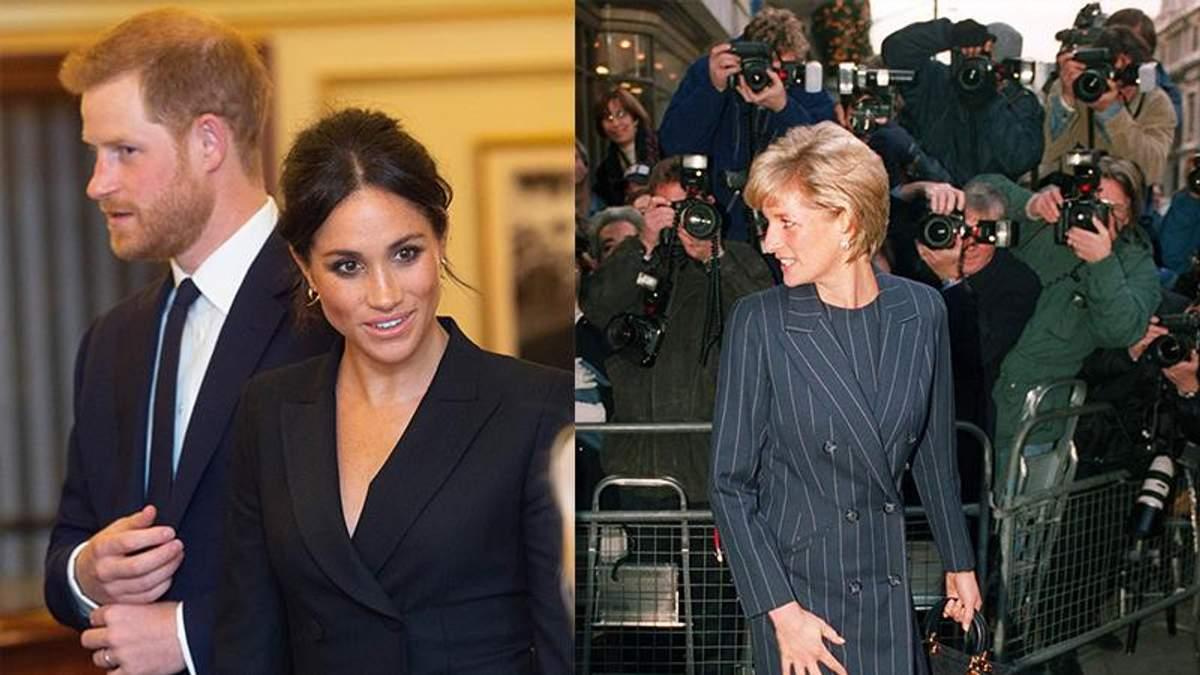 На фото слева: принц Гарри и Меган Маркл, на фото справа: принцесса Диана