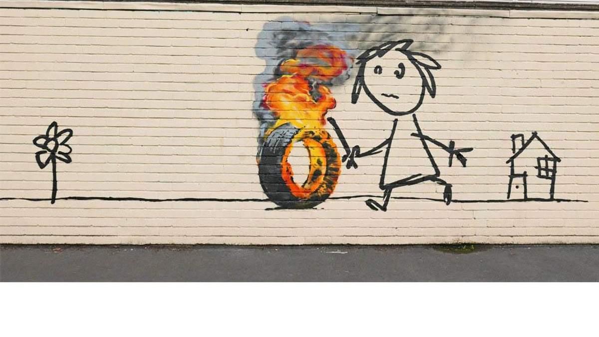 Рабочие случайно закрасили граффити известного художника Бэнкси
