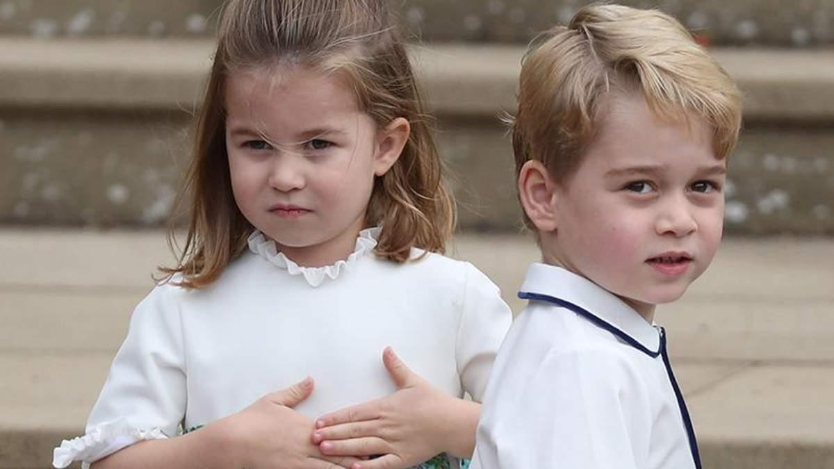 Принц Джордж и принцесса Шарлотта на свадьбе принцессы Евгении