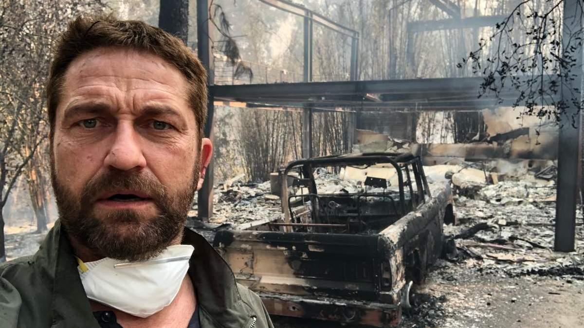 Смертельный пожар в Калифорнии: актер Джерард Батлер показал жуткое фото своего дома