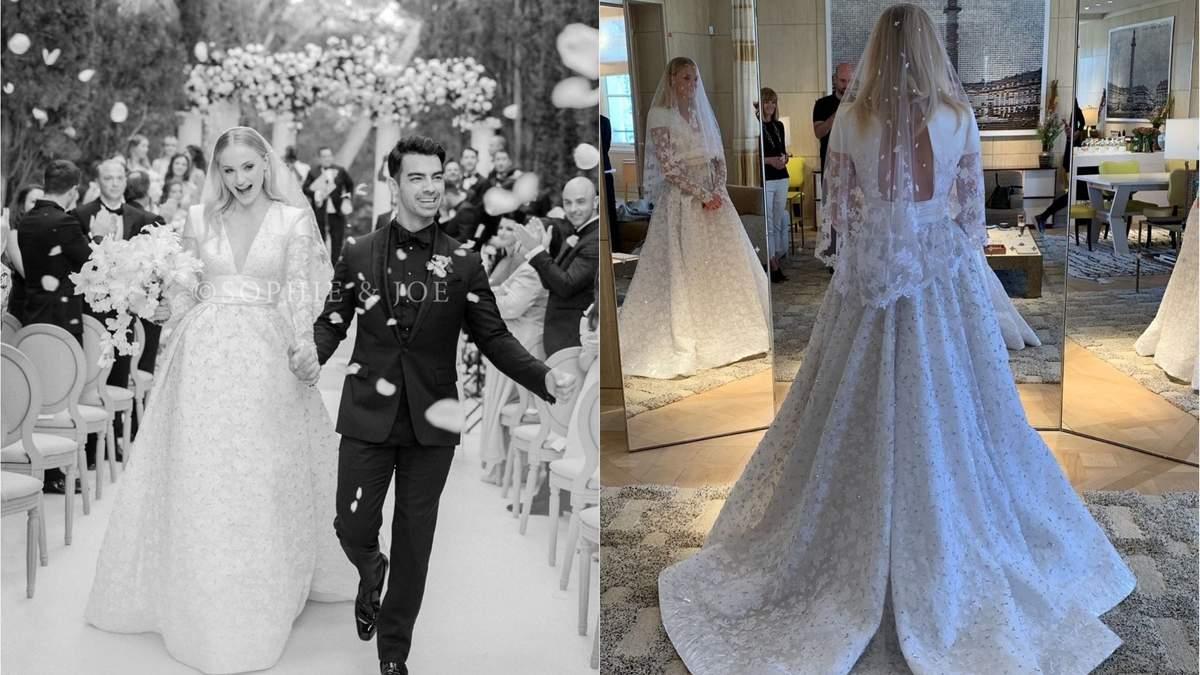 Тисячі кристалів і 14 метрів тюлю: як створювалася весільна сукня Софі Тернер