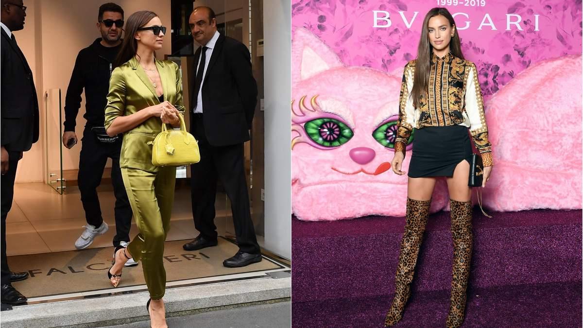 Шовковий костюм і міні з леопардовими ботфортами: Ірина Шейк засвітила два стильних образи