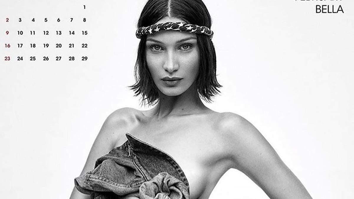 Топлесс или в белье: сестры Хадид, Хейли Болдуин и другие модели снялись для календаря (18+)