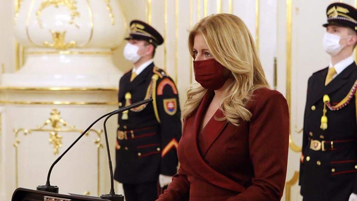 Президентка Словаччини обрала маску під сукню