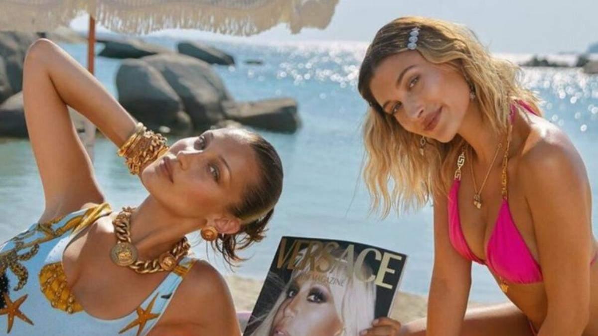 Белла Хадид и Хейли Бибер для Versace