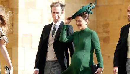 Вагітна Піппа Міддлтон зачарувала смарагдовою сукнею на весіллі принцеси Євгенії