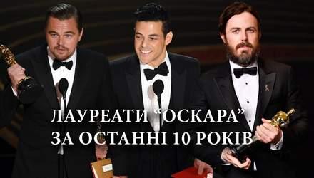 Які актори отримали Оскар за останні 10 років: список