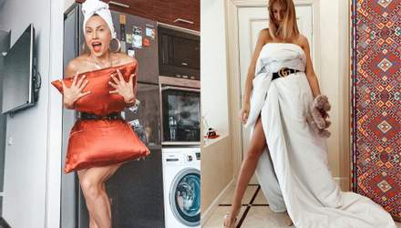 """Подушка та ковдра замість сукні: як зірки в Україні та світі приміряють """"карантинний"""" тренд"""