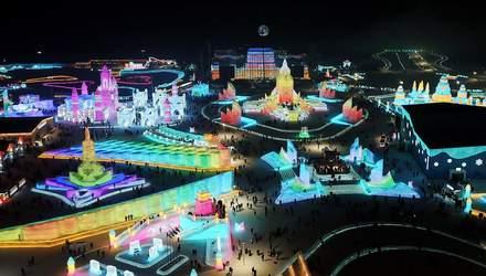 У Китаї побудували гігантське місто зі снігу та льоду: відео та фото, які вражають масштабами