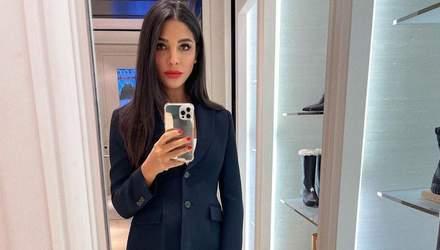 Полностью в Dior: Санта Димопулос поразила образом в синем костюме