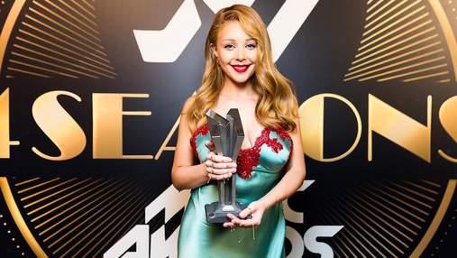 """Сукня у """"білизняному"""" стилі: Тіна Кароль вразила розкішним образом на M1 Music Awards 2018"""
