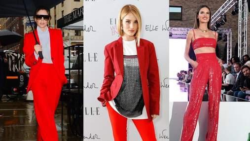 Как носить красный костюм: яркие примеры знаменитостей