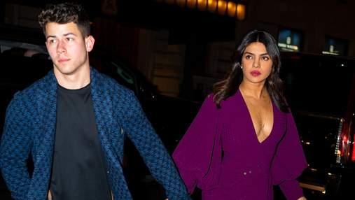 Пріянка Чопра обирає сукню пурпурного кольору на побачення з чоловіком: ефектні фото
