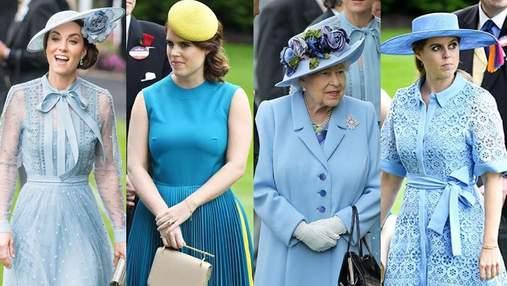 Все оттенки голубого: Елизавета II, две ее внучки и Кейт оделись в одинаковой цветовой гамме