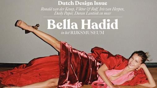 Белла Хадид разлеглась на полу музея, позируя для обложки Vogue: впечатляющее фото