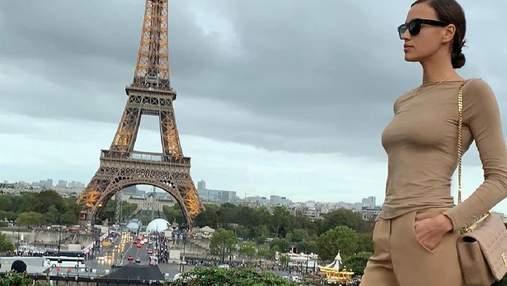 В бежевом total look: Ирина Шейк посетила Париж – фото