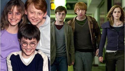 """""""Гаррі Поттер"""": як змінювалися головні герої протягом зйомок всіх частин саги – фотопорівняння"""