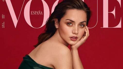 Новая девушка Аффлека Ана де Армас примерила трендовый образ для обложки Vogue