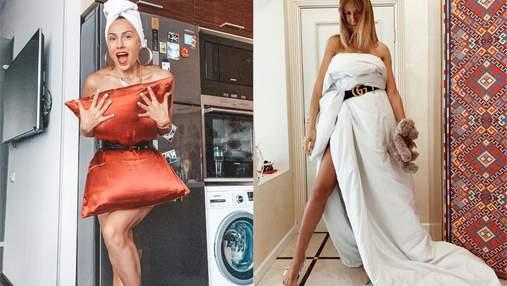 """Подушка и одеяло вместо платья: звезды в Украине и мире примеряют """"карантинный"""" тренд"""