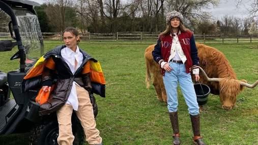 Джіджі та Белла Хадід влаштували імпровізовану фотосесію для Vogue на домашньому ранчо: фото