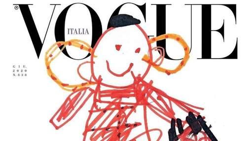На обложке итальянского Vogue появились детские рисунки: фото