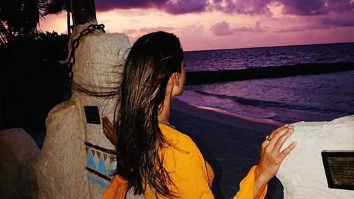 Фиолетовый закат: Аллесандра Амбросио показала невероятные кадры с отдыха на Мальдивах