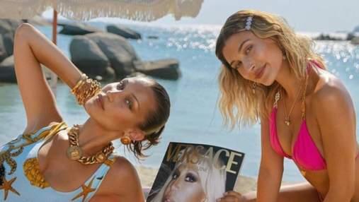 З відвертими декольте: моделі Гейлі Бібер та Белла Хадід знялись у рекламі Versace