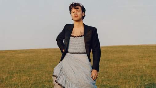 Гарри Стайлс появился на обложке Vogue в платье от Gucci: фото в женских образах