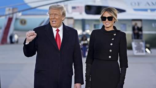 Последний выход в статусе первой леди США: Мелания Трамп появилась на публике в черной одежде