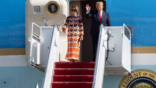 В платье от Gucci: Мелания Трамп с мужем отправилась на отдых – фото