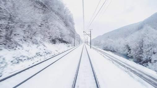 Неповторимая красота: сеть восхитило видео зимнего путешествия по Карпатам из кабины машиниста