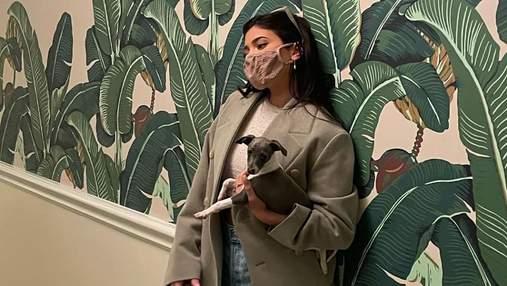 Кайлі Дженнер прогулялася з собачкою в обрізаних чоботах та жакеті: вражаючий образ