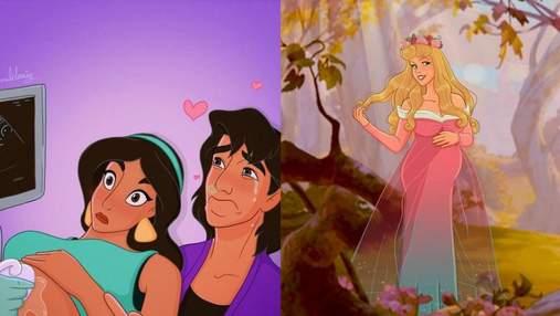 Художница рассказывает о своей беременности через принцесс Disney: забавные фото