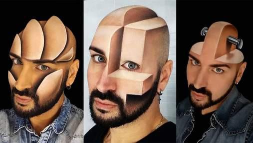 Італійський візажист малює приголомшливі тривимірні ілюзії на своєму обличчі