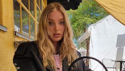 Эльза Хоск надела на прогулку нежное розовое платье и байкерскую куртку-косуху: фото