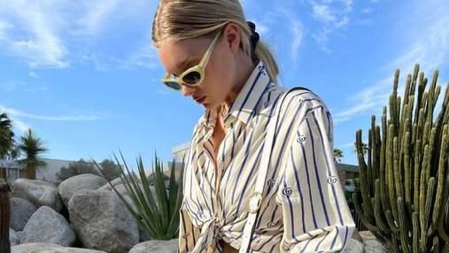 Эльза Хоск ошеломила летним аутфитом в полосатой рубашке: фото