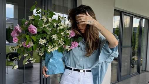 Джинси з розрізами і сорочка оверсайз: Надя Дорофєєва показує ідеальний аутфіт на літо