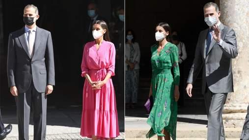 Цвета фуксии и изумруда: королева Летиция поражает брендовыми платьями в музеях Испании