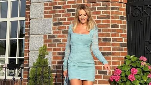 Леся Никитюк появилась на дне рождении Притулы в мятном миниплатье: фото
