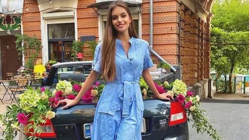 Дружина Дмитра Комарова зачарувала елегантним образом у блакитній сукні: фото