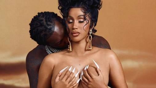 Вагітна Cardi B повністю оголилась поряд з чоловіком: пристрасне фото скандальної пари