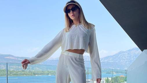 Леся Нікітюк продемонструвала ефектний образ у білому костюмі: фото