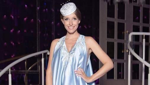 Катя Осадча повернулася до роботи через 5 днів після пологів: фото в синій сукні