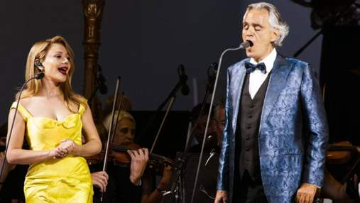 Тина Кароль в желтом платье выступила с Андреа Бочелли: эффектные фото