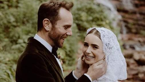 """Звезда сериала """"Эмили в Париже"""" Лили Коллинз вышла замуж: сказочные фото со свадьбы"""