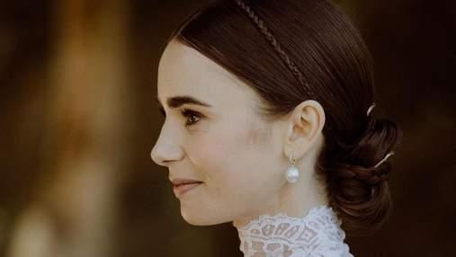 Весільна зачіска Лілі Коллінз: стильні косички і гладенький пучок для нареченої – ніжні фото