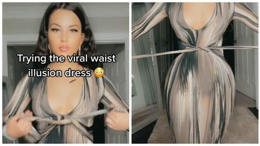 Делает осиную талию: блогерша показала платье, создающее крутую оптическую иллюзию